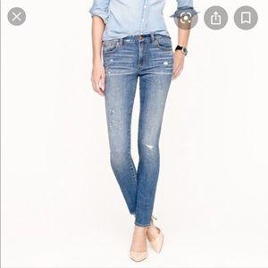 Jcrew midrise skinny distressed jeans